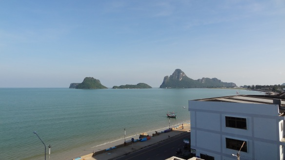 The Hadthong Hotel, balcony view over the Gulf of Thailand.