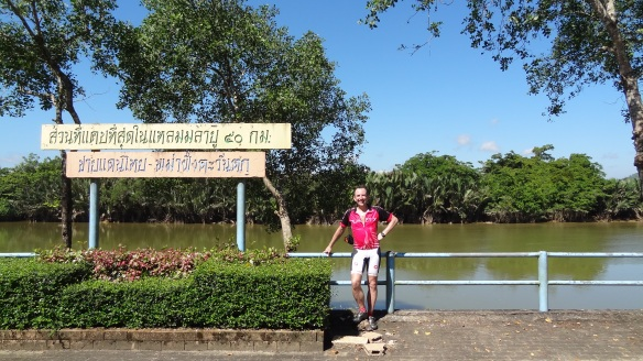 The Isthmus of Kra - Burma is the other side of the river from me. Goodness knows what the sign says!!