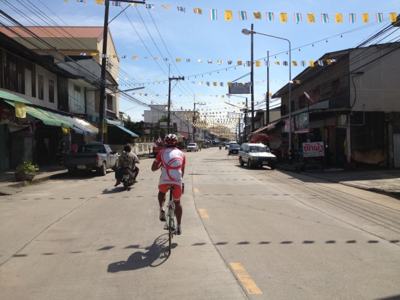 Cycling through a fairly typical Thai town...