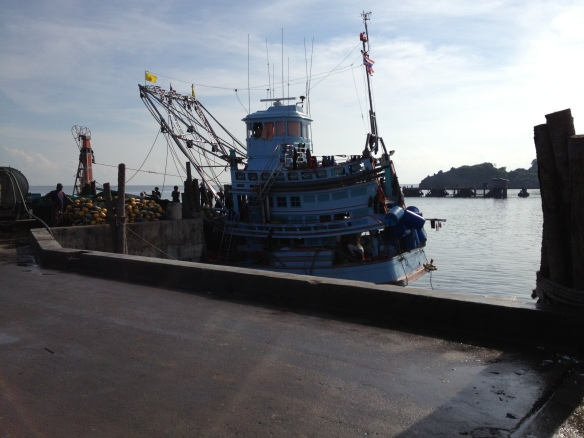 The fishermen unload their catch......