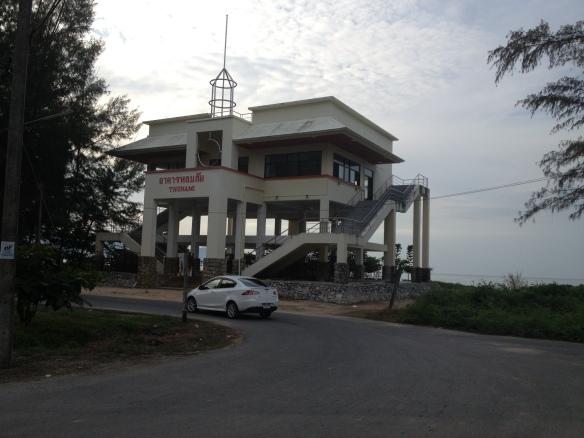 The tsunami warning station just north of Khao Lak, quite a sobering sight.