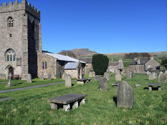 The churchyard in Horton in Ribblesdale, Pen-Y-Ghent in the background.