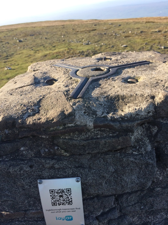 The trig point on Ingleborough, adorned with QR code - an interesting blend of the old and the new.