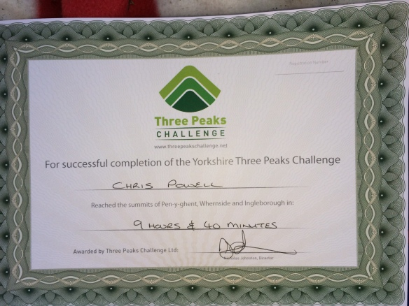 My finishers certificate - we were in the first group to finish on the day. 'Average' time is apparently around 12 hours.