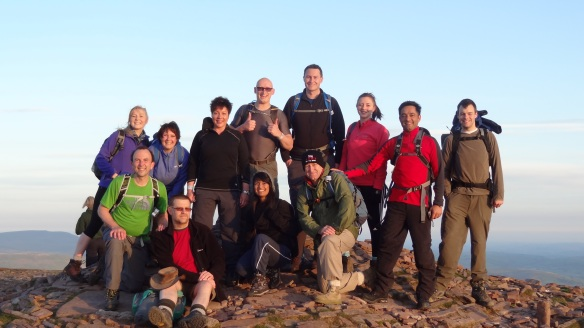 On the summit of Pen Y Fan at sunrise