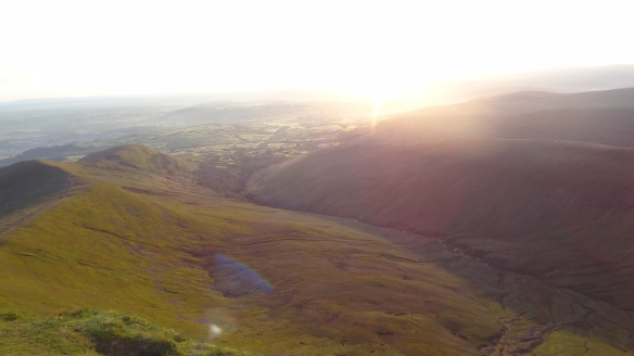 Looking down from the summit of Pen Y Fan just after sunrise
