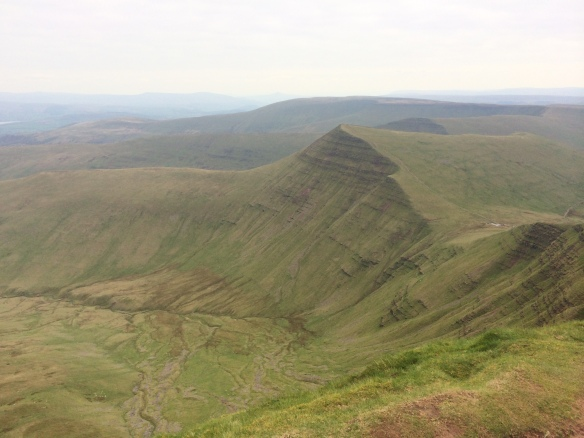 The view from Pen Y Fan towards Cribyn (foreground) and Fan Y Big (just over and beyond from Cribyn).