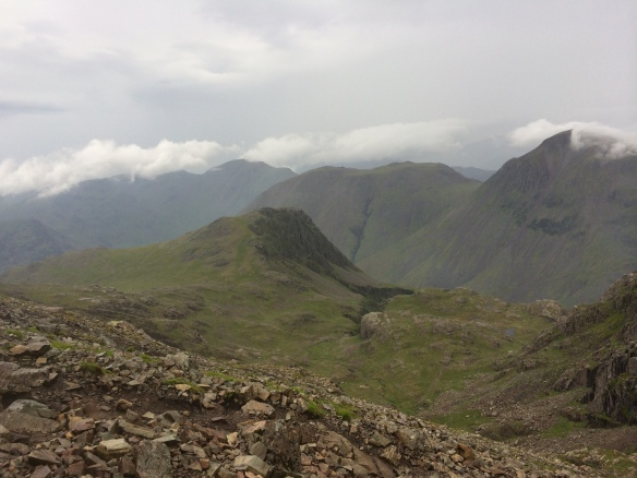 Great Gable (right) and Green Gable from just below Scafell Pike