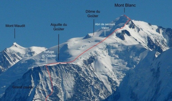 The final route to the top - the Grand Couloir may well be tricky...