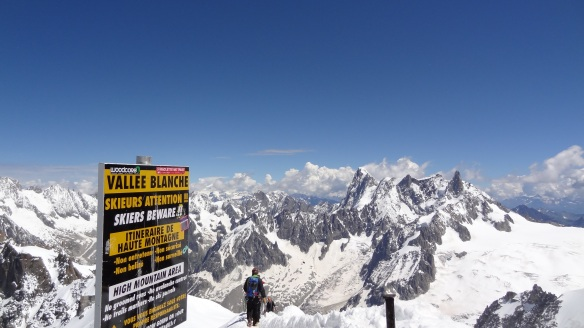 The top of the famous Vallee Blanche glacier, looking towards Italy
