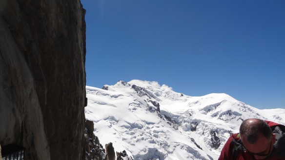 Looking towards the summit of Mont Blanc, a further 1km above us, from the cable car station, the Dome du Gouter is on the right