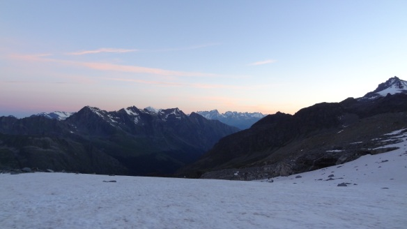 First light over the mountains, and we are on the glacier already.....