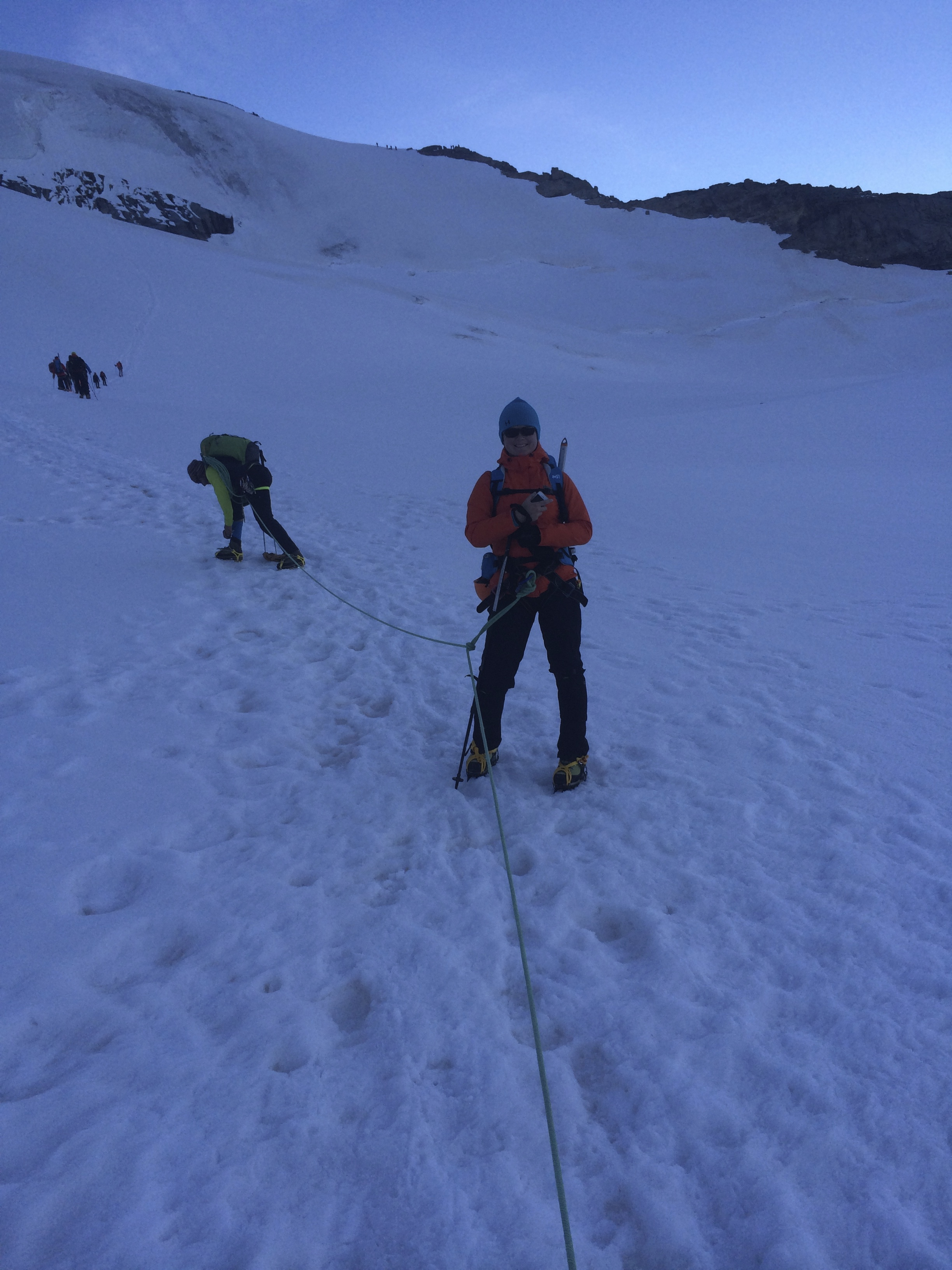 ....with crampons on and all well wrapped up - it was very cold!