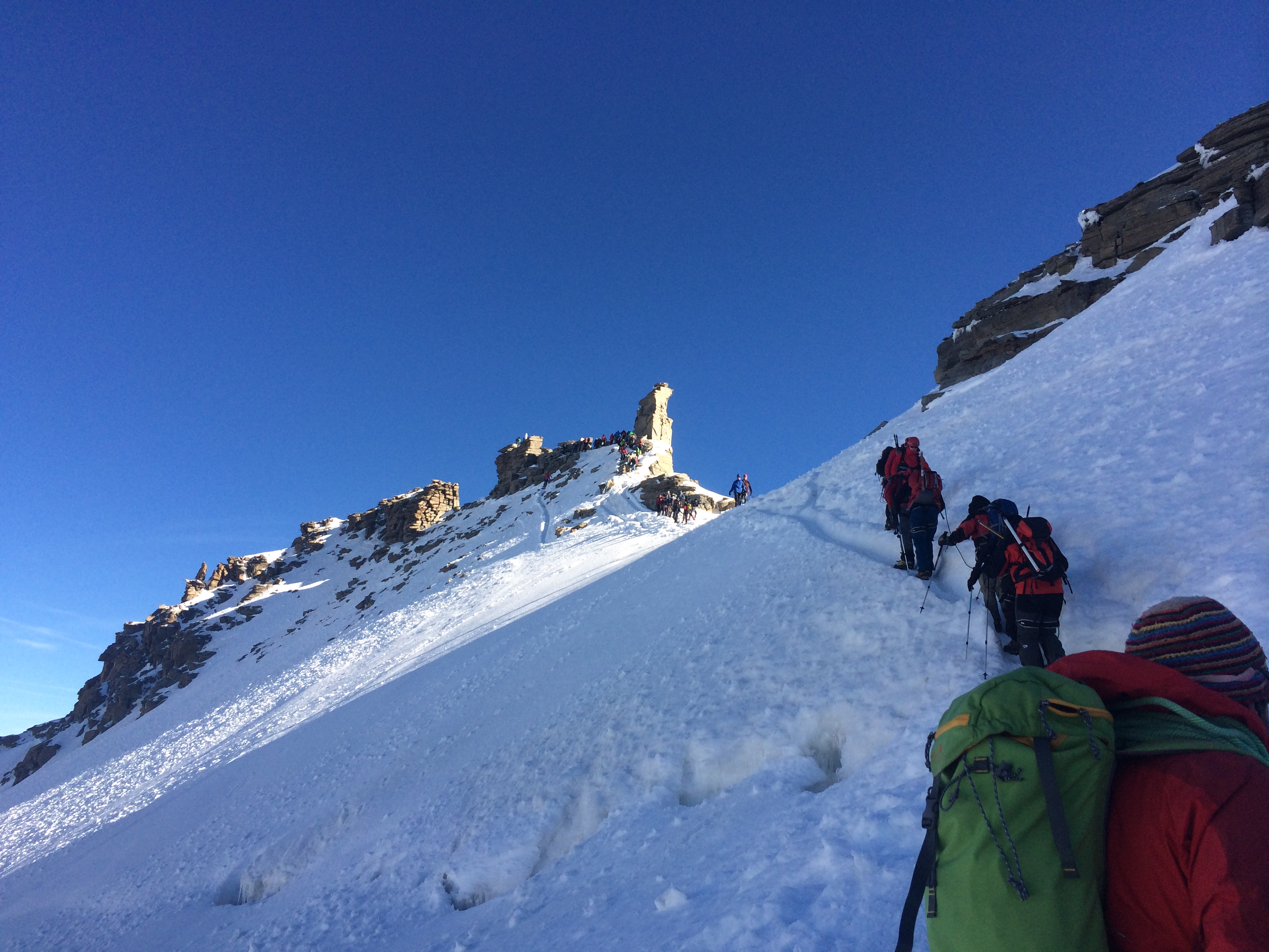 Approaching the summit ridge and the bottleneck at the top of Gran Paradiso