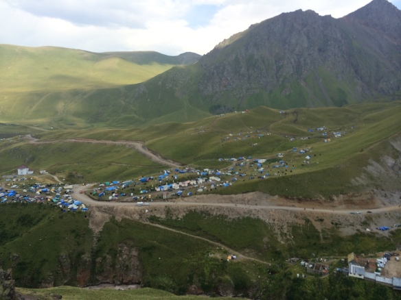 The campsite down the valley which brought masses of people to the 'healing' springs....