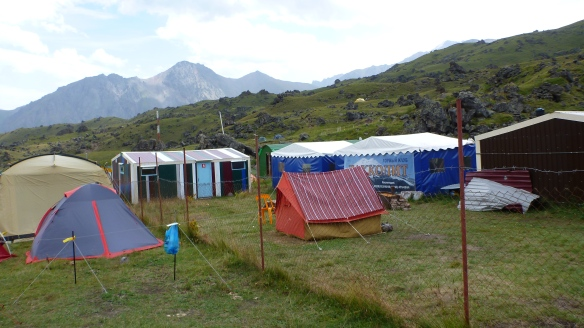 Elbrus Base Camp, north side - the boys' hut is on the left.