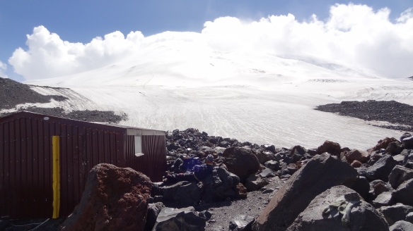 The glacier leading towards the summit of Elbrus - a faint trail of climbers can be seen on the way up on the left hand side.