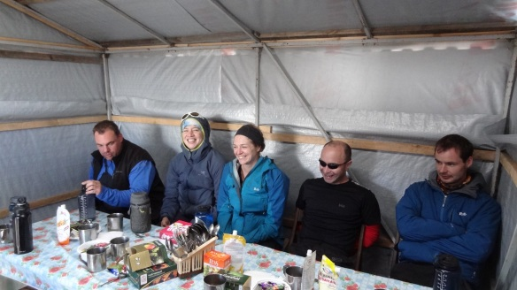 Hut life at 3,730m - this was our dining hut - home for all meals for the next five or more days....