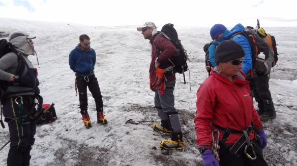 Everyone getting the hang of their crampons.....