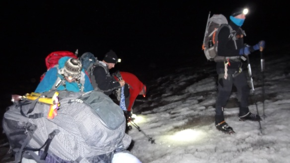 Headtorches on, crampons tightened, we are off!