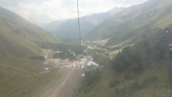 In the cable car and looking back at Terskol.