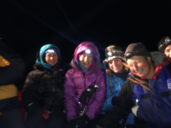 Sat expectantly on the back on the snowcat, 2am.