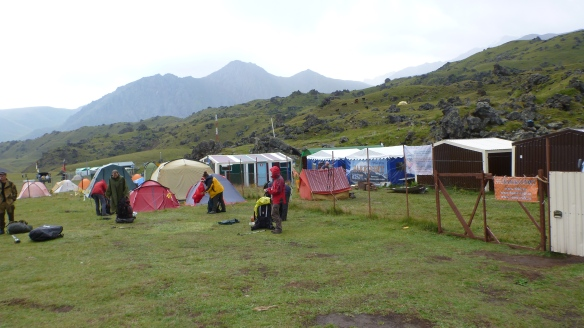 Leaving Base Camp in the early morning rain.