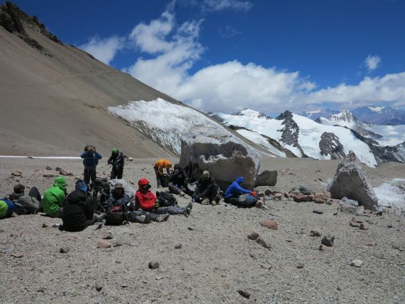 Lunch break for the group just before the traverse.