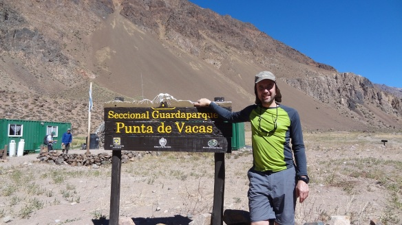 At the trailhead on the Guanacos route to Aconcagua.