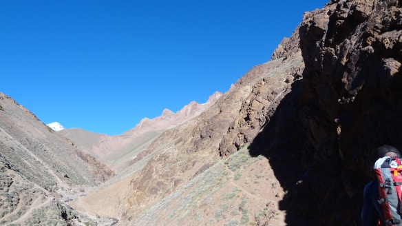 A fleeting view of the top of the snowy peak of Aconagua in the far distance.