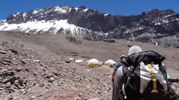 The tents of Base camp finally come into view. We'd still pitch our own of course.