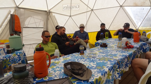 Down time in the dining tent - we don't look too happy do we!