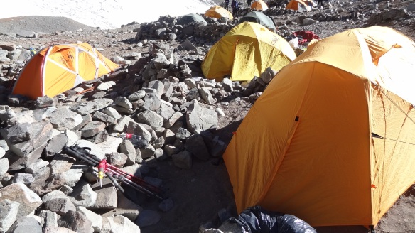 The tents have to be weighted down as best you can and protected from the high winds by big rocks.