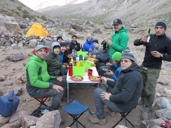 First dinner on the mountain - the temperature has dropped dramatically by now.