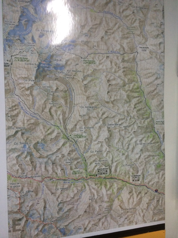 A map on the wall of the climbing shop showed the route to Aconcagua - it didn't mean much as yet...