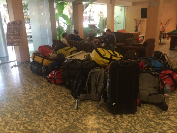 Bags nearly ready for the off in the foyer of the hotel.