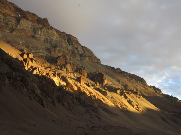 The sun begins to set on the western flank of Aconcagua - maybe the last time I'd see the sun set here, who knows.
