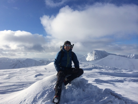 On top of Aonach Mor, Ben Nevis in the background, January 2015.