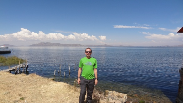 First sighting of the quite magnificent Lake Titicaca.