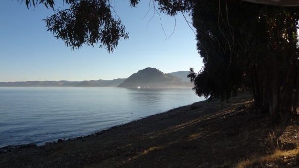 .....and the view along the shore looking towards Calvary Hill where we had walked up last evening.