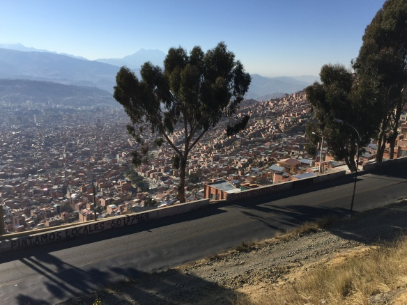 First view down into La Paz itself from El Alto, at 4,100m