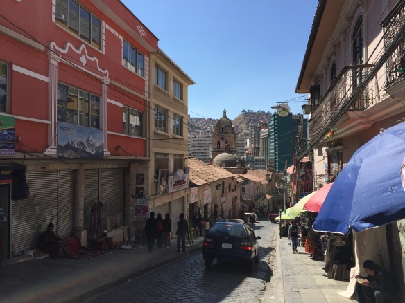 The streets of La Pax, near the church of San Sebastian
