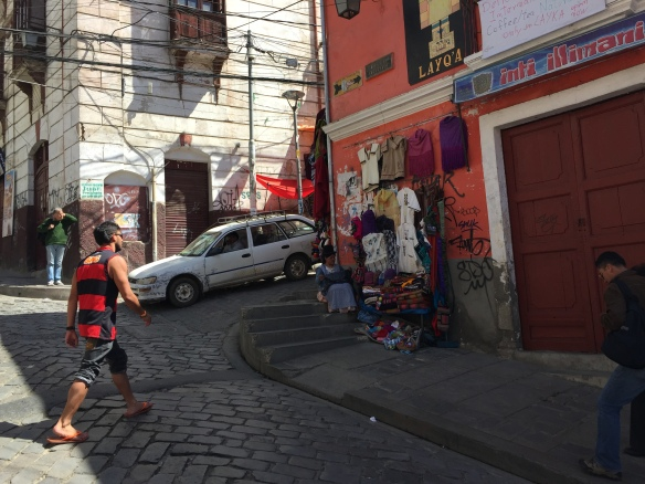 Another typical (if quieter) La Paz street scene. The lady wears the bowler hat if she is married.