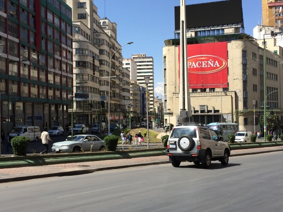 """Another typical downtown city scene. Pacēna is the local beer, meaning """"of La Paz""""."""