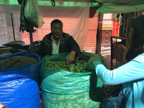 Buying the abundant coca leaves in a street market....