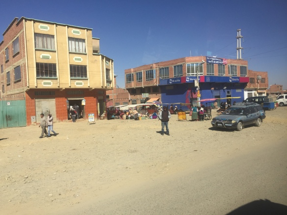 A typical road/shop in El Alto