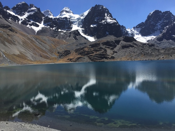 On our way into Condoriri Base Camp - this lake is at 4,600m.