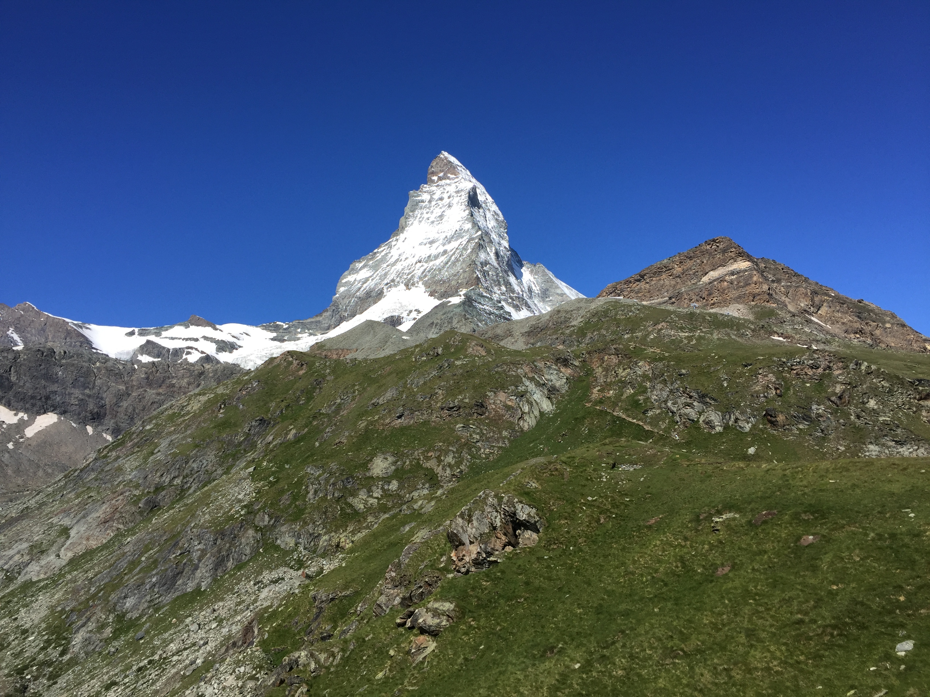The Matterhorn rearing up above Zermatt